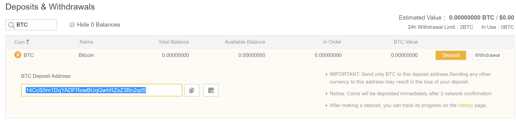 deposit bitcoin op binance